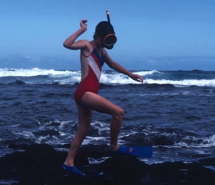 Hawaii, the big Island. Marla snorkeling.