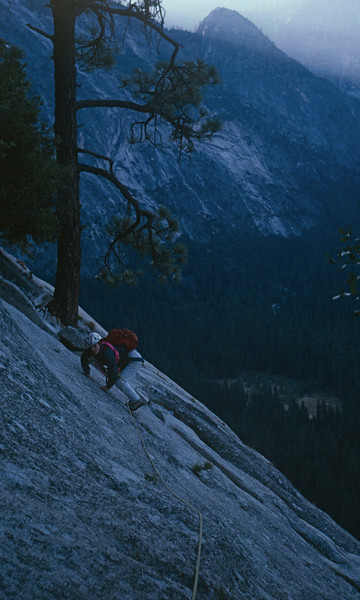 Royal Arches Climb in Yosemite - Marla is leaving our camp spot the next morning.