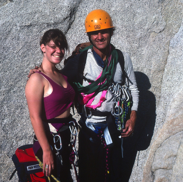 Royal Arches Climb in Yosemite - Andi and I ready for the first of 18 pitches