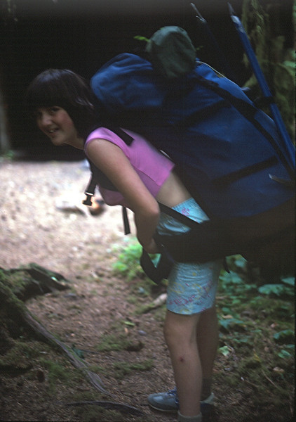 Mt. Olympus Climb. 1986 Marla showing that she can hold my 80 pound pack.