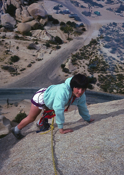 Marla climbing at Joshua Tree