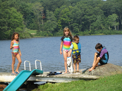 Megan, Sofia, Miller and Carson at the lake