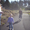 ASH, EVRETT & LITTLE GRACIE STROLLING ALONG THE PATH...