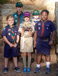 Gabriella and her friends at school on Baden Powell's 163rd birthday.  Kids who partake in scouting were encouraged to wear their uniforms to school. Gabriella brought cup cakes for her class.  On Gabriella's  right is her friend Lexi De Roo and on her left is her friend Sithu Kambala.
