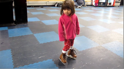 12/27/2011 - Gabrielle's first time on ice skates.  All was well except for the fall.  She was so excited to see Santa that she just tripped.