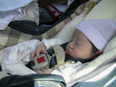 Gabriell suited up and ready for her drive home from the hospital.