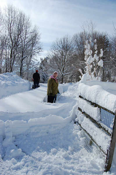 """Darius makes a path up Shirley's driveway, and Shirley digs out the other side of it. """"Great exercise,"""" she says!"""