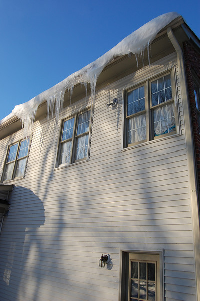 Amazing icicles as a little thawing begins.