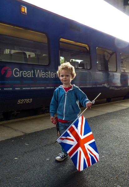 The cutest little English boy was getting on our train to Cardiff.