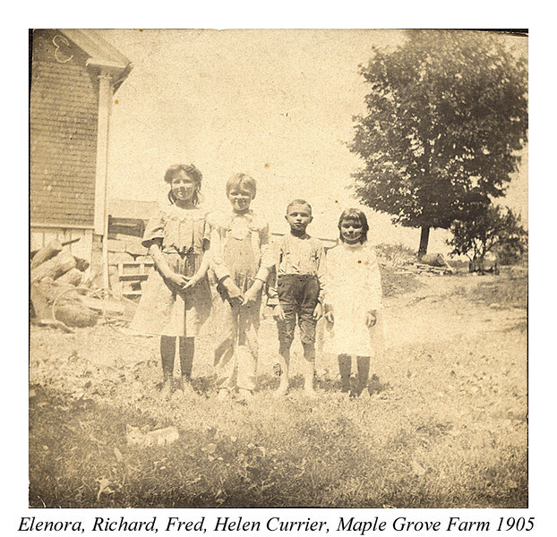 1905 Elenora, Richard, Fred, Helen Currier, Maple Grove Farm