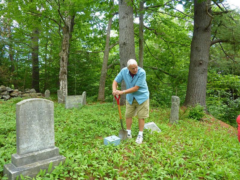 P1040128 Picking a spot between Ellen's grandfather John Brewer and her sister Lois
