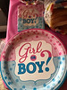 Gender reveal party for Terry Metatawabin and Aileena Sutherland. Plates