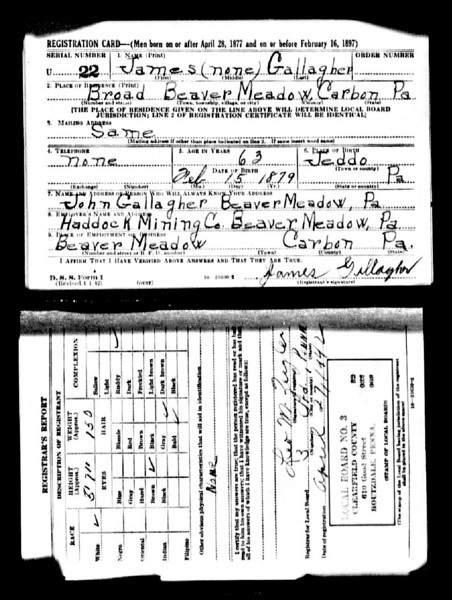 World War II - draft card - James Gallagher
