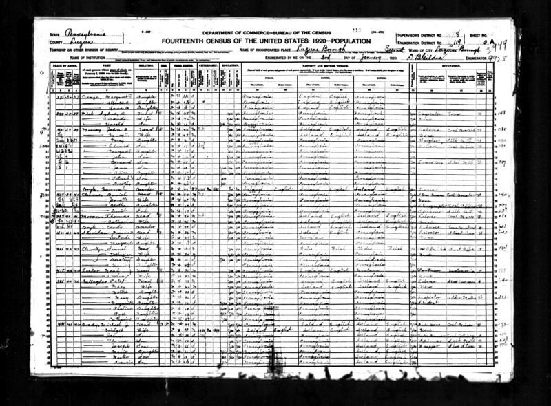 1920 U.S. Census - Peter Gallagher & Family