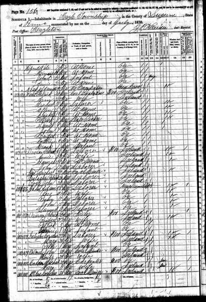 1870 U.S. Census - Cornelius Gallagher & Family