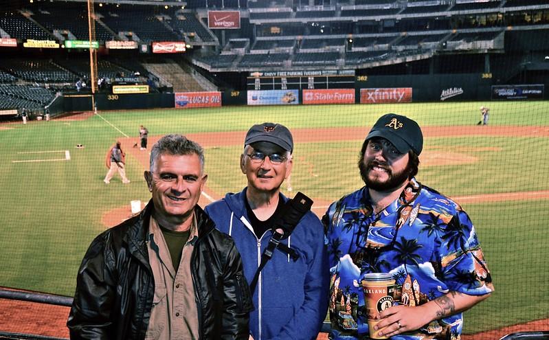 Nick Sebastian, Bert Schreibstein, Rich Morin at an Oakland Baseball Game, Summer of 2011.