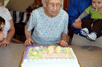 April 11, 2010 [April Birthdays] - (David's house / Manchester, Saint Louis County, Missouri) -- Vera blowing out the candles for her 90th birthday