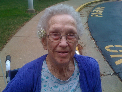 March 15, 2012 - (Bethesda Meadows / Ellisville, Saint Louis County, Missouri) -- Vera with a pear blossom that Emily decorated her hair with [photo by Emily]
