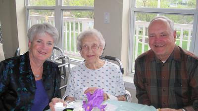 April 16, 2011 [Birthday] - (Autumn View Gardens / Ellisville, Saint Louis County, Missouri) -- Mary Anne, Vera & David at Easter Brunch