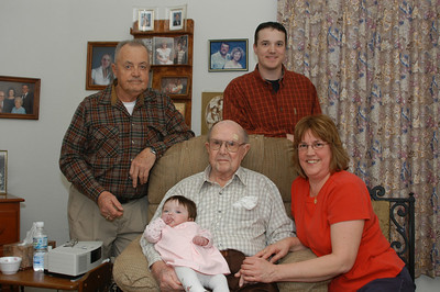 Five generations, Ed Tromley, Durwin Tromley with Willow Rule, Rex Tromley Rule and Karen (Tromley) Chandler