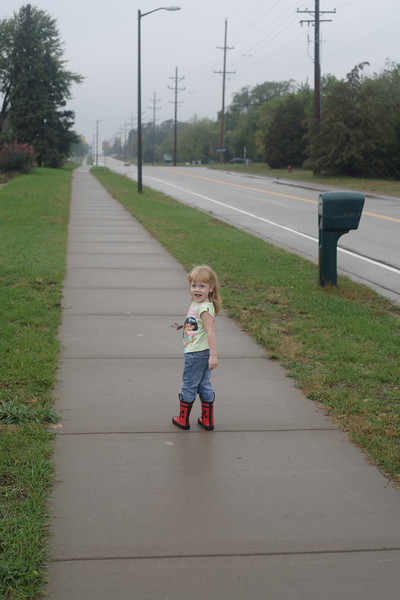 Katie <br /> Katie and Matthew went for a walk in the puddles after the rain.