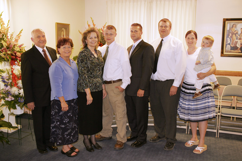 L-R: Braydon's Mission President, Mission Mom, ReNae, Colby, Bryan, Jeff, Marty, and Braxton