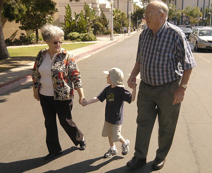 May 29, 2005 -- Connor with Grandma and Grandpa at Balboa Park.