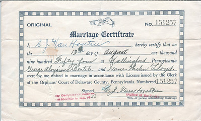 Georges mom and dad Marriage Certificate