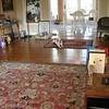 The center piece of the room is this tasseled hand made wool rug. What a joy to walk on! Whiskey our dog, sits in front of the Florida Room.