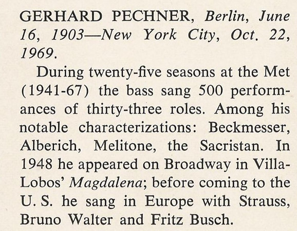 Gerhard Pechner's obituary as it appeared in Opera News, November 22, 1969, page 29