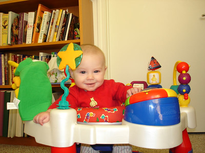 Doesn't this look like I'm working at my desk at work? You can call me CEO of the exersaucer.
