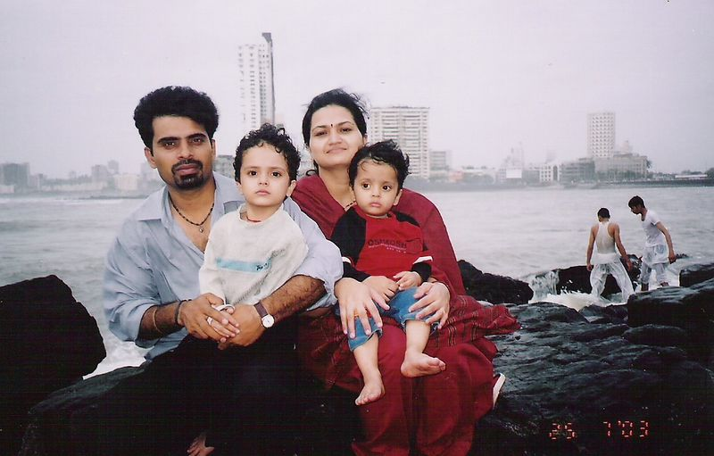 My Younger Brother Ashutosh with his wife Manisha and sons Aniket (in white) and Ankit (in red).
