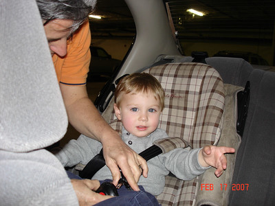 AJ learned how to use my car seat.