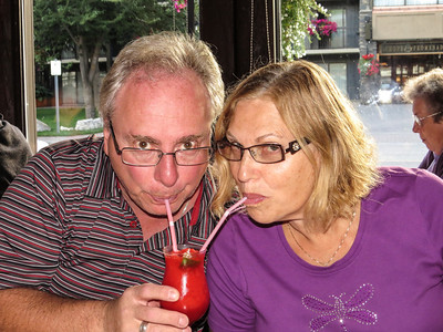 Sid and Carol sharing a drink at Melissa's Missteak for dinner.