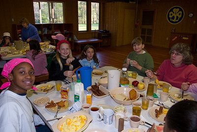 """The troop in the dining hall.  One person was designated the """"Hopper"""" and brought the food out."""