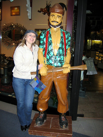 Getting cozy with Paul Bunyan.