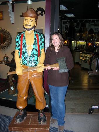 Lorinda helping Paul Bunyan hold his ax.