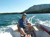 We rented a little outboard on the lake for an hour.