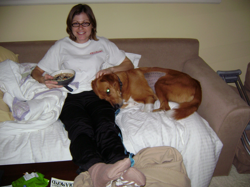 Sam comforted Amanda while she recovered from hip surgery.