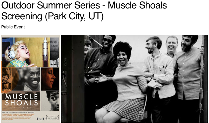 Outdoor movie at the Arts Fest.  Muscle Shoals, the story of a tiny musical town in Alabama where magic happened.