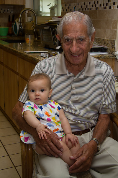 Joe Cavato (husband of Bernadine Govednik) with great granddaughter Macie Crumpler.  Macie is the daughter of Megan (Reeves) and Walter Crumpler.  Megan is daughter of Kim Cavato, sister of Marty Cavato