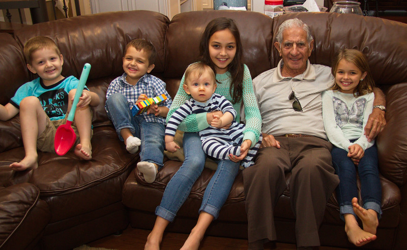 "Joseph Cavato (Marty's Dad) with great grandkids:  Tommy, Kye, Laney, Fynn and Ella.  This is the last photo of the grandkids with their ""Poppy."""