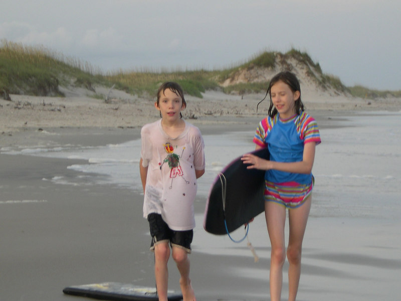 Grace and Chance walking along the beach in 2006.