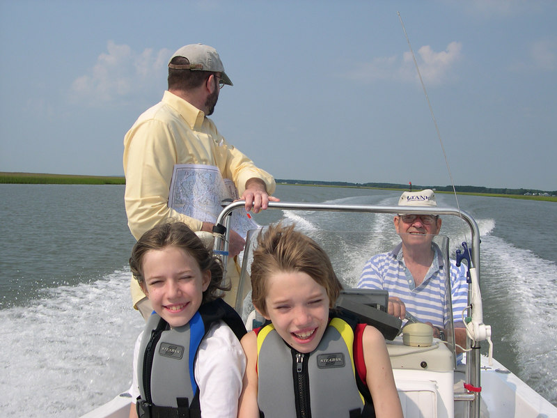 Grace and Chance on a boat with their grandfather on the summer of 2006.