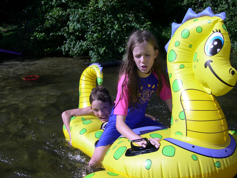 Grace and her brother Chance playing in the pond on their yearly trip to Cape Cod in the summer of 2005.
