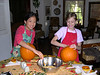 Grace and her best frien Elaine carving pumpkins on halloween in 2005.
