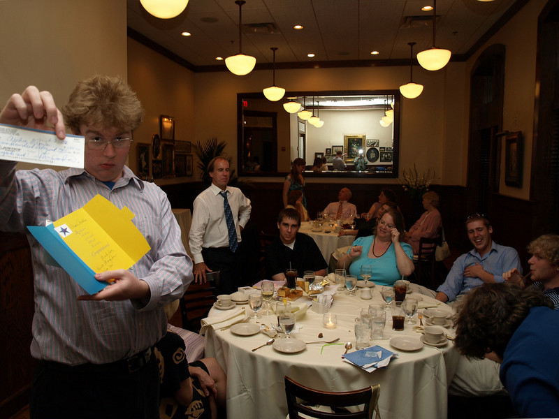 Archie's present from Uncle Jim and Aunt Mary Ann. Archie and Samantha's graduation dinner, Maggiano's Little Italy, Bethesda, MD, June 6, 2008.