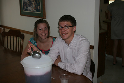 Tyler & Alisa and the punch being cooled with dry ice