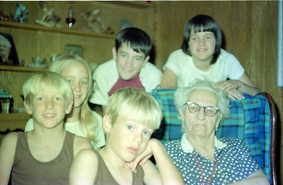 """The Kane kids (Patrick, Betsy, Andrew, John and Kathy) with Mary Elizabeth """"Betty"""" Gardner, Garland, Texas, July 1974"""