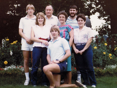 Taken in back yard of 1415 Highland Parkway when we were all in St. Paul for John and Mayme Galligan's 50th wedding anniversary (August 1984). John had had a stroke shortly before and was still in the hospital.